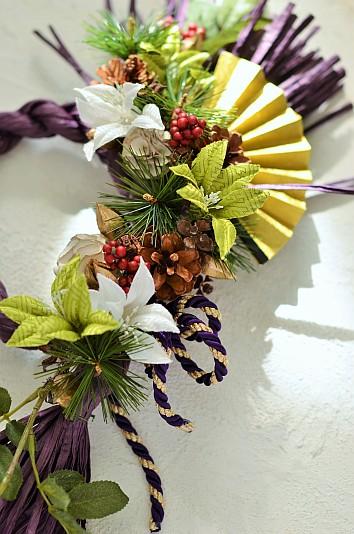 華やかな和布の花と木の実のコラボレーション作品 木の実デコール